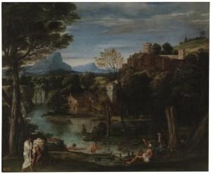Carracci. paisaje con río y bañistas