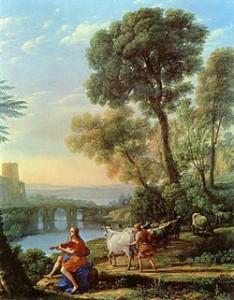 Lorraine.Paisaje con Apolo custodiando los rebaños de Admeto y Mercurio robándoselos