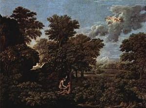 Nicolás poussin. La Primavera o Adán y Eva en el Paraiso