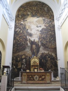 Altar mayor de la Iglesia .Mural de Fernando Calderón S XX